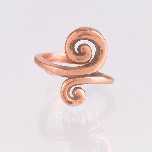 Copper Adjustable Ring |  Double Spiral