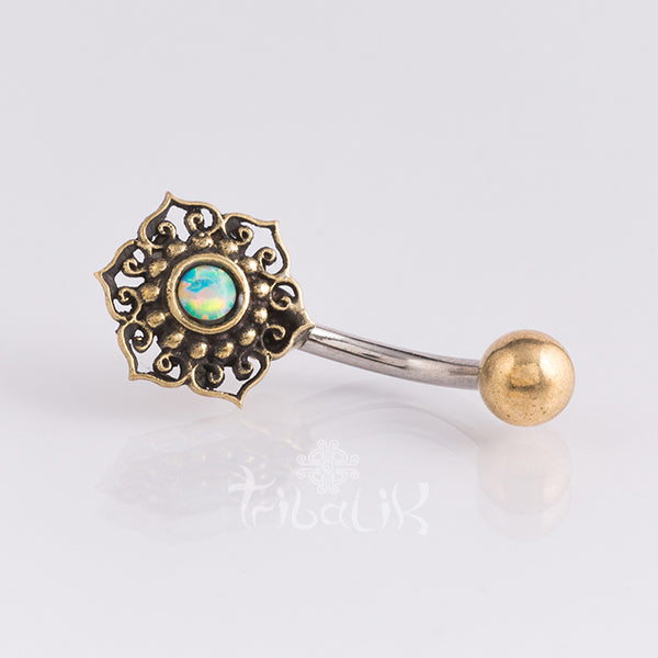 Belly Bar | Gold Brass & Stainless Steel Geometric Flower