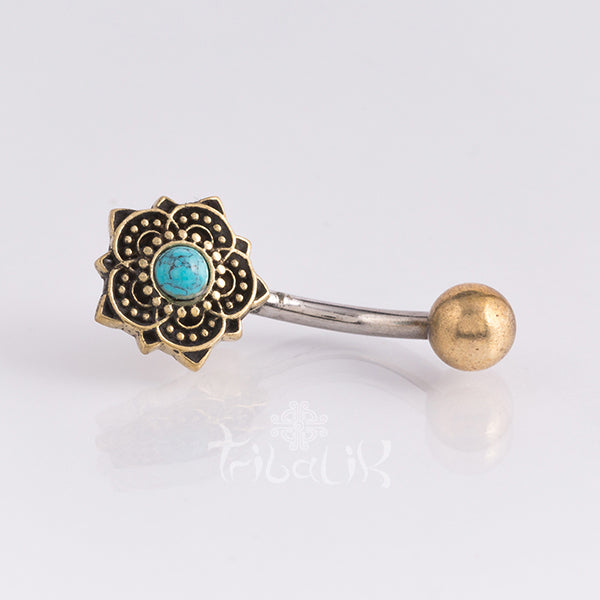 Belly Bar | Gold Brass & Stainless Steel Heart Flower