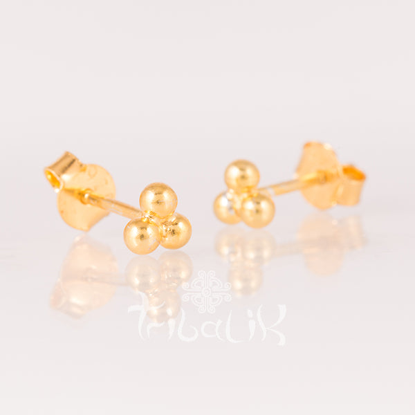 gold plated dot stud earrings