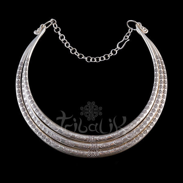 Silver choker hill tribe necklace thailand