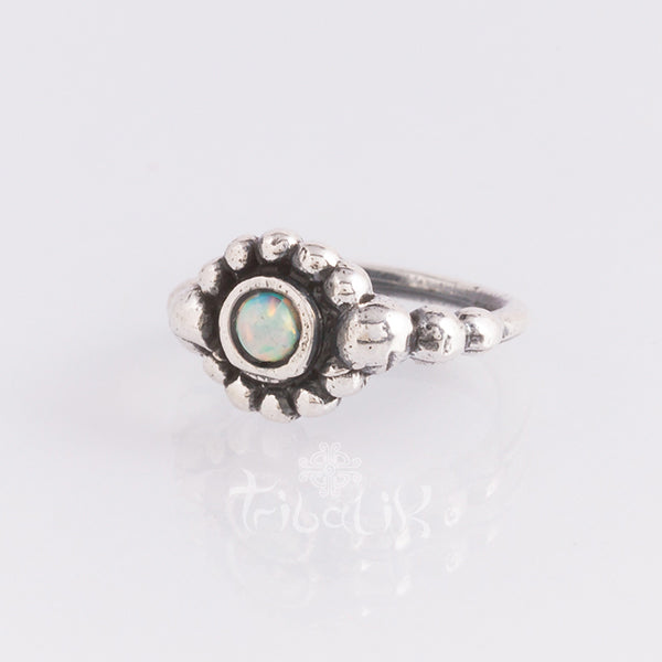 Sterling silver piercing ring for various piercings opalite