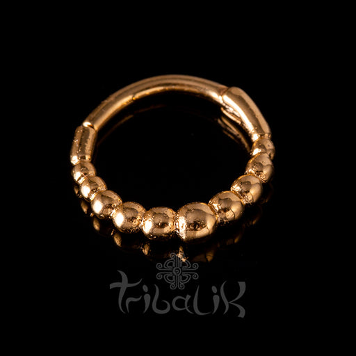 Stainless Steel Gold Plated Seamless Clicker - Dotted ring