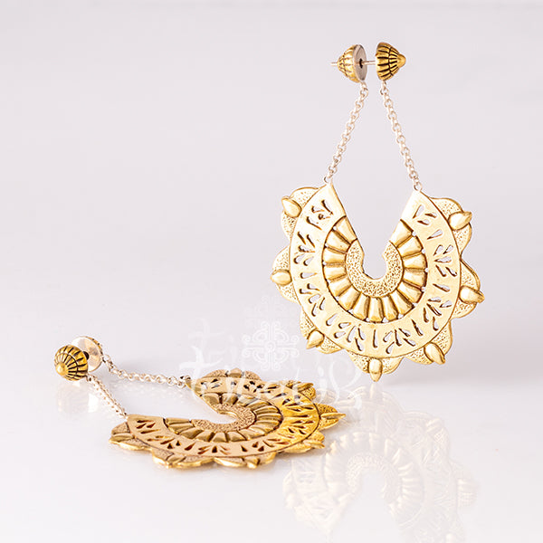 Brass Flower Statement Earrings - Orchid