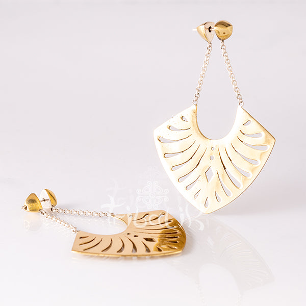 Brass Earrings with Engraved Plates- Oxalis