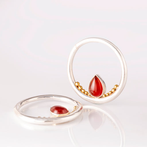 Silver Ear Weights for 4mm with Carnelian Teardrop- Mata Hari