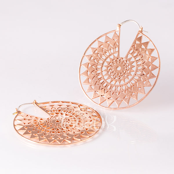 Rose Gold Mandala Hoop Earrings- Endless Summer