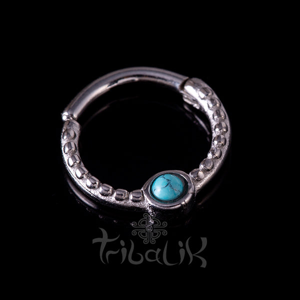 Stainless Steel Silver Plated Seamless Clicker Ring- Turquoise