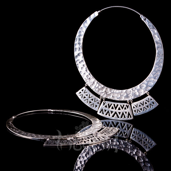 silver plated gypsy hoop earrings