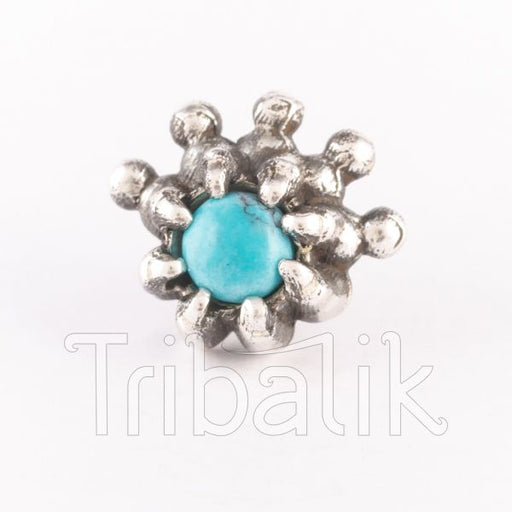 turquoise silver clasp pin