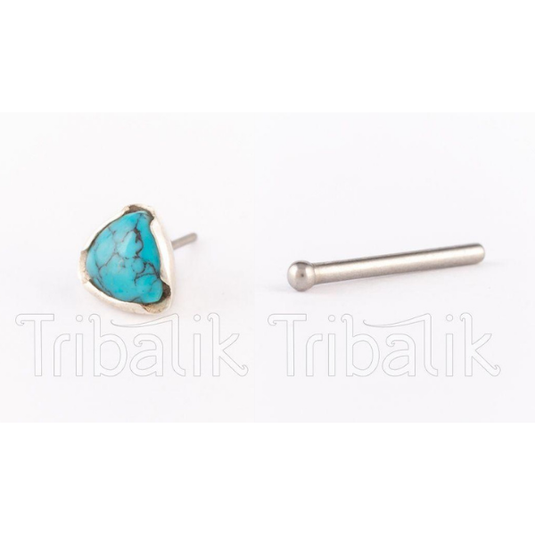 Silver Threadless Nose Stud with Triangular Turquoise Stone
