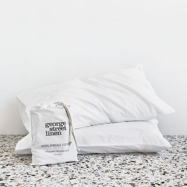 george street linen cotton percale pillow case sheets in white or fog. Shop online or at blake street auckland stockists ponsonby