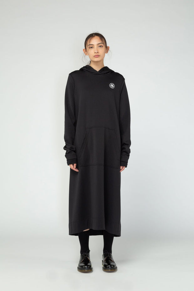 Nom*d stockists Long Hood Dress Black NZ Designer NZ Made