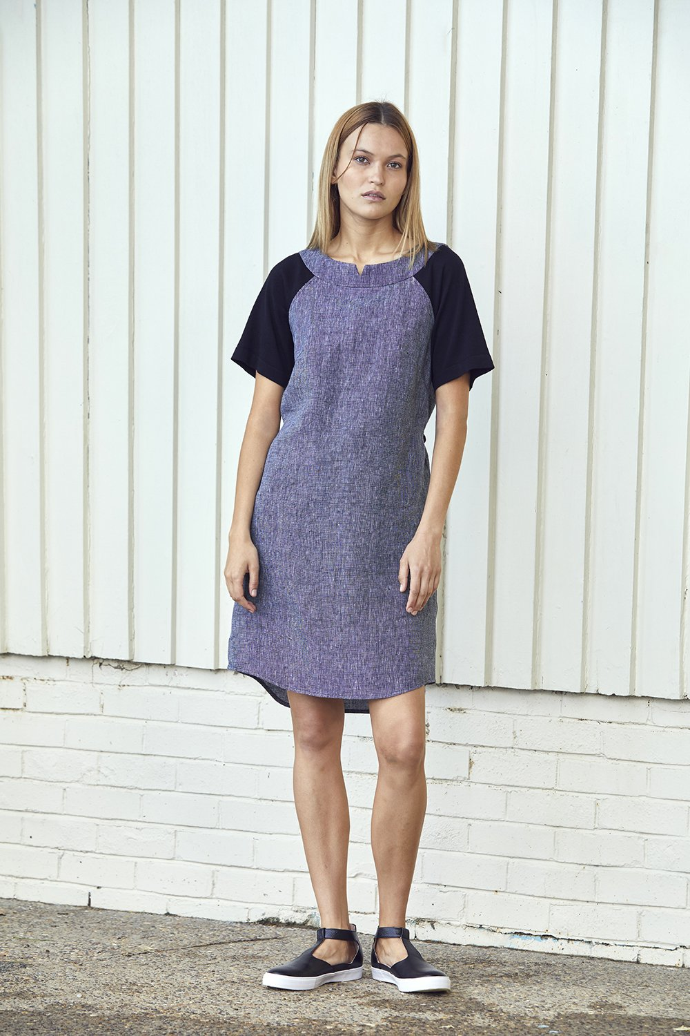 Standard Issue Linen dress drawstring Stockists Auckland Made in New Zealand NZ Designer Clothing