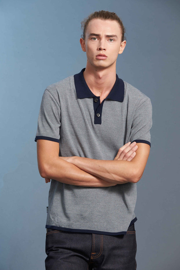 Standard Issue miscro stripe polo mens Stockists Auckland Made in New Zealand NZ Designer Clothing