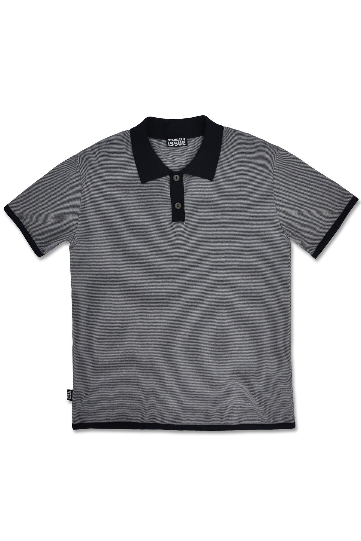 Standard Issue micro stripe polo mens Stockists Auckland Made in New Zealand NZ Designer Clothing