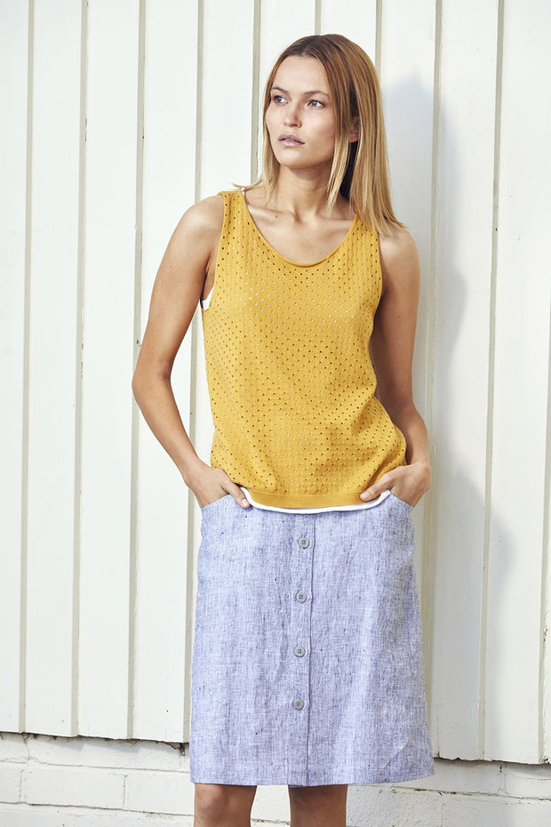 Standard Issue Linen skirt drawstring Stockists Auckland Made in New Zealand NZ Designer Clothing