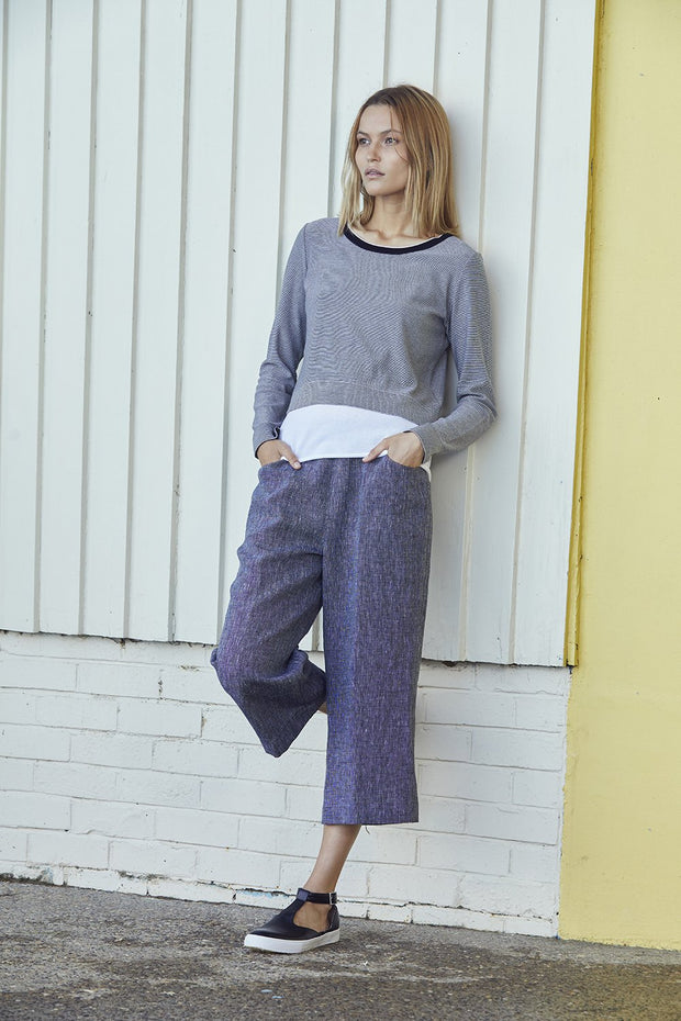 Standard Issue Linen crop pants Cardi Knitwear Stockists Auckland Made in New Zealand NZ Designer Clothing