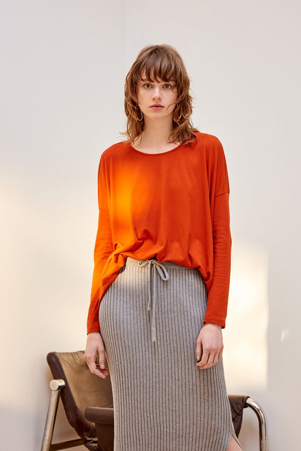 kowtow building block drape top burnt orange black organic cotton ethical clothing NZ designer stockists Auckland ponsonby