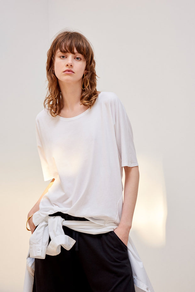 kowtow building block top oversized white burnt orange organic cotton ethical clothing shop now online stockists Auckland ponsonby