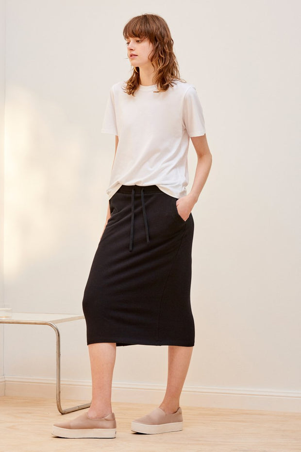 kowtow building block ribbed skirt black organic cotton ethical clothing stockists Auckland Ponsonby