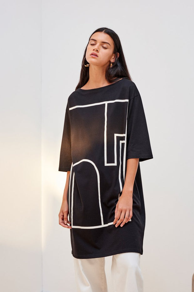 kowtow wall dress black with print organic cotton ethical clothing stockists Auckland Ponsonby