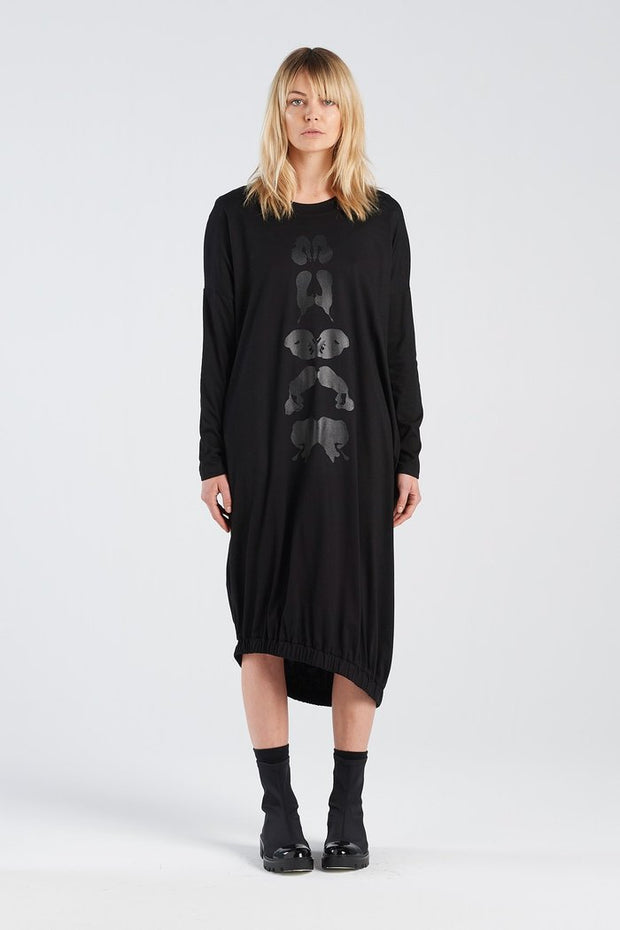 Nyne stockists Binet Dress Klex Black Knit NZ Designer NZ Made