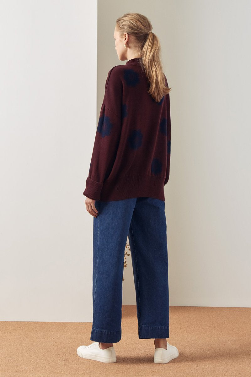 Kowtow stockists Daisy Jumper Wine Ethical Organic Fairtrade