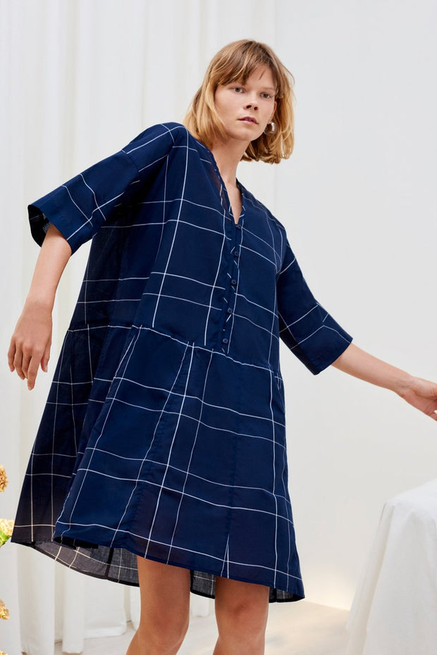 kowtow reflection dress in navy check and white organic cotton ethical clothing stockists Auckland Ponsonby