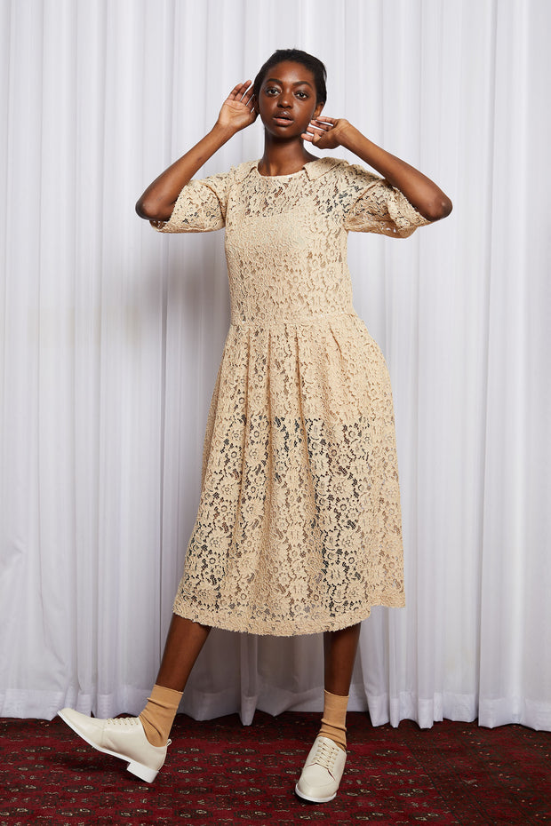 Story line dress salasai embroidery cream black mid calf new season dreamscape Australian designed