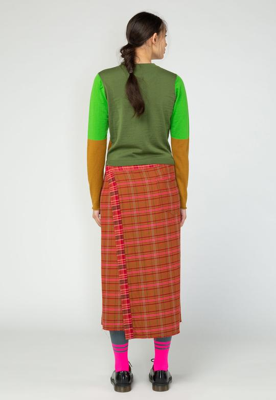 nom*d tri-colour sweater 100% merino wool nz made Auckland stockist military green mustard lime