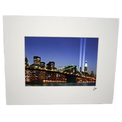 Memorial Lights Matted Print -  Gifts at the 9/11 Tribute Museum