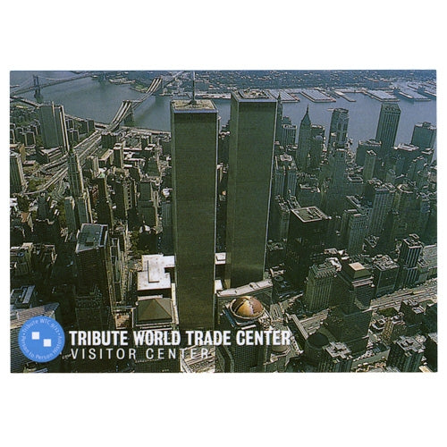 Aerial View of the Twin Towers Postcard -  Gifts at the 9/11 Tribute Museum