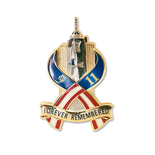 One World Trade and Twin Towers - Forever Remembered Pin -  Gifts at the 9/11 Tribute Museum
