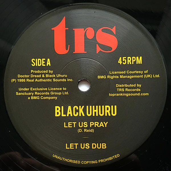 "12"" BLACK UHURU - Let Us Pray / Dread In The Mountain - TRS Records"