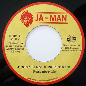 "7"" JUNIOR BYLES & RUPERT REID - Remember Me - TRS Records"