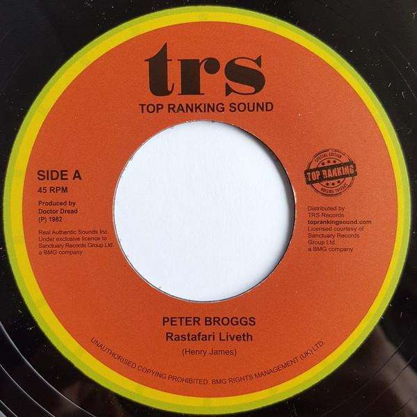"7"" PETER BROGGS - Rastafari Liveth - TRS Records"