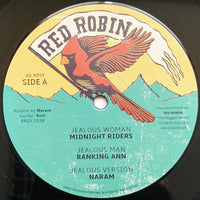 "12"" MIDNIGHT RIDERS & RANKING ANN / EARL CUNNINGHAM & JUNIOR CAT ‎– Jealous Woman / War In The City - TRS Records"