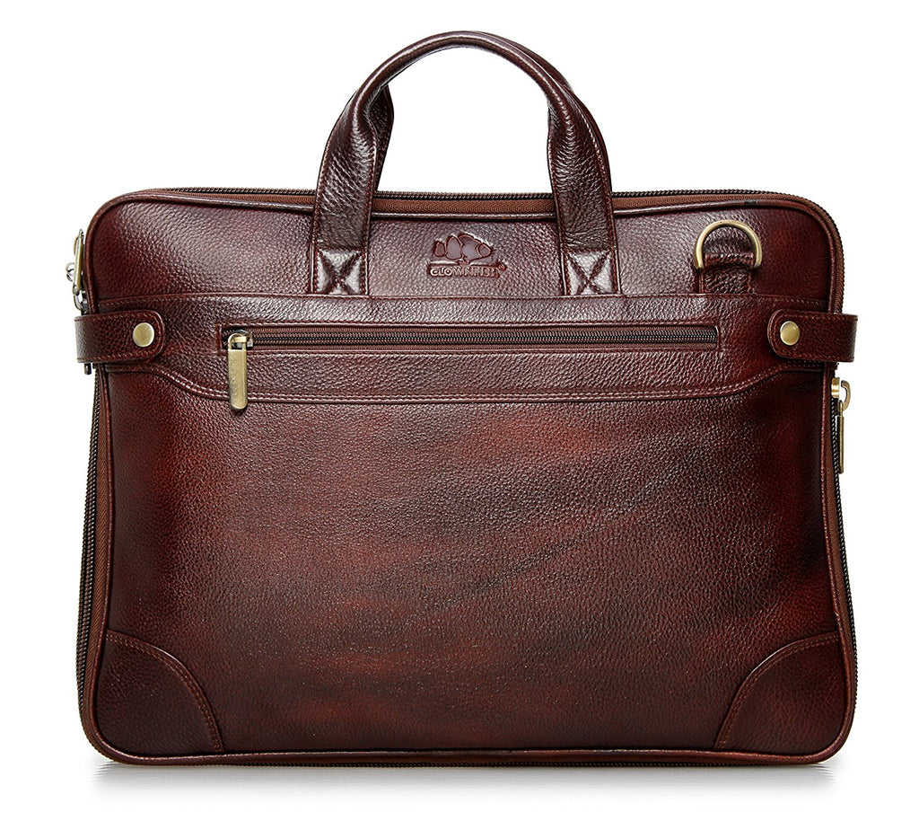 The Clownfish Dual Tone Leather Laptop Bag for upto 15.6 inches Maroon Black