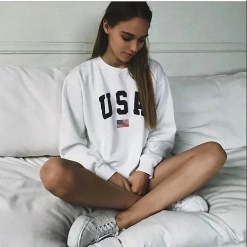 Womens Hoodies USA Long Sleeve Hoodie Sweatshirt Jumper Hooded Pullover Tops Casual Loose White Coat