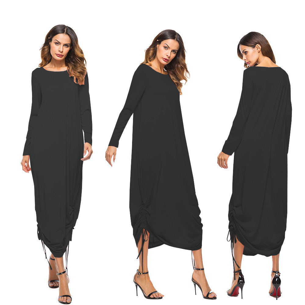 Women Dress Pocket O Neck Long Sleeve Dress