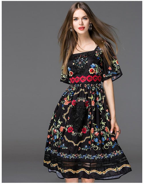 New Arrival 2018 Women's Square Neckline Short Sleeves Floral Printed Embroidery High Street Elegant Runway Dresses