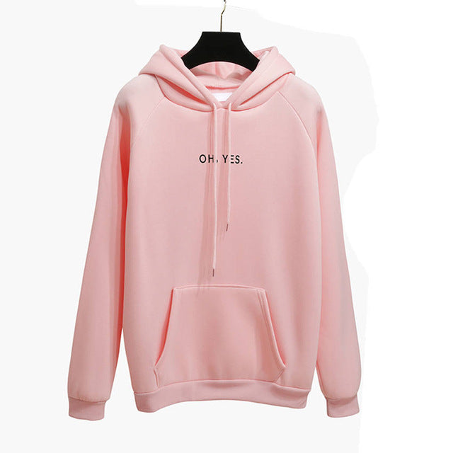 Oh Yes Letter Harajuku Casual Coat Two Layers Hat 2017 Winter Fleece Pink Pullover Thick Loose Women Hoodies Sweatshirt Female