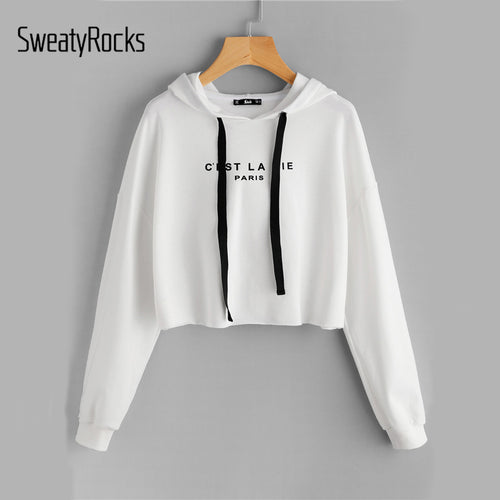 SweatyRocks White Drop Shoulder Crop Hoodie Women's Letter Print Long Sleeve Casual Pullovers Sweatshirt 2018 Autumn Top