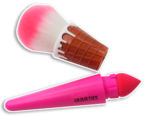 MULTIPURPOSE ICE CREAM  MAKEUP BRUSH WITH SPONGE  -DETACHABLE