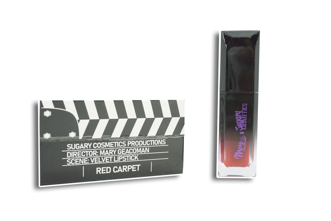 CLAPPER LIPSTICK RED CARPET- VELVET | MARY GEACOMAN X SUGARY COSMETICS MOVIE NIGHT