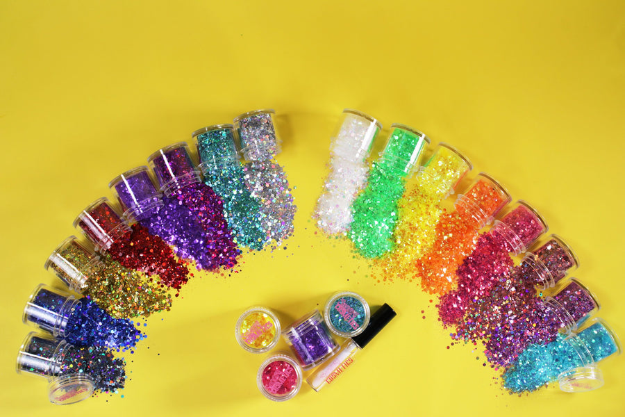 NO BOX*  SPRINKLES CHUNKY GLITTER KIT + GLUE