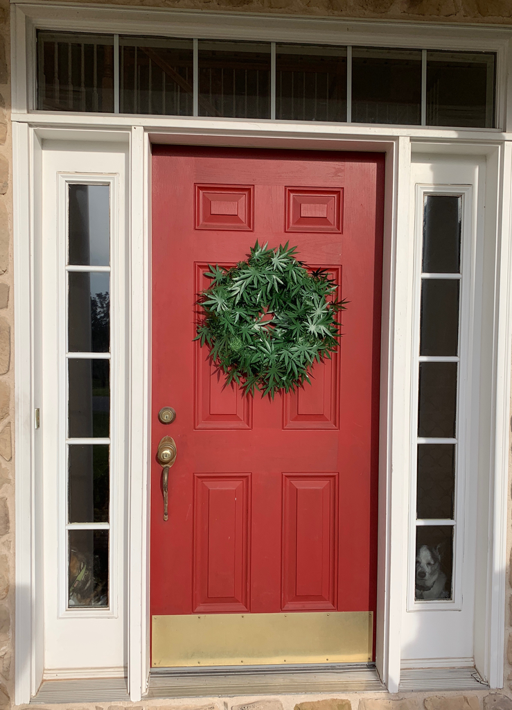 dankorations wreath on a red door