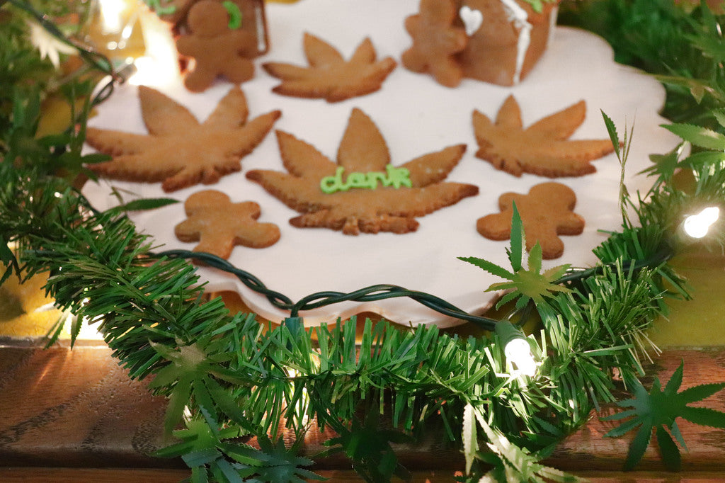 dankorations garland and pot leaf shaped christmas cookies