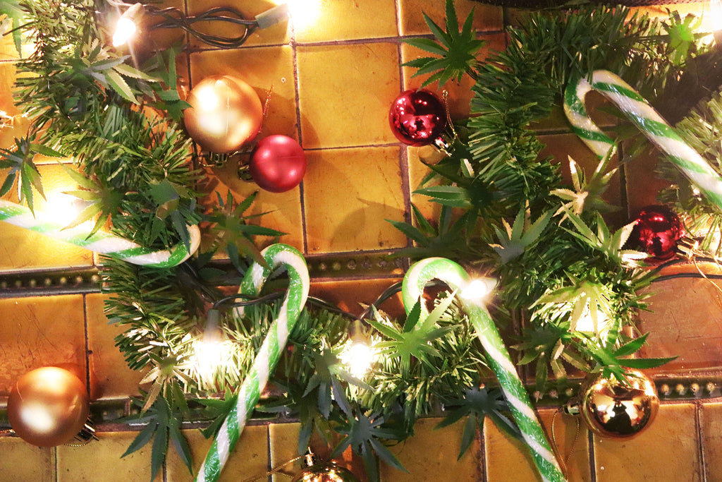 dankorations garland with candy canes, lights, and bulbs